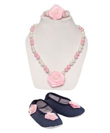 Daizy Combo Of Denim Booties Pearl Mala & Bracelet - Blue