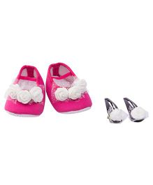 Daizy Combo Of Booties & Flowers Clips - Hot Pink