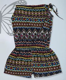 Aww Hunnie Tie Up Printed Jumpsuit - Multicolor