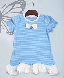Aww Hunnie Striped Top With A Bow Applique - Blue