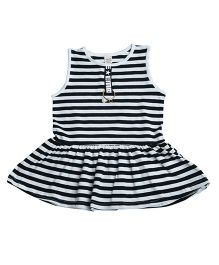 Aww Hunnie Striped Flared Top - Black