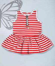 Aww Hunnie Striped Flared Top - Red