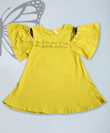 Aww Hunnie Cold Shoulder Top With Pearl Work - Yellow