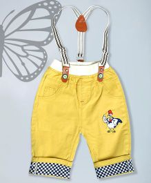 Aww Hunnie Chicken Print Pants With Dungarees - Yellow
