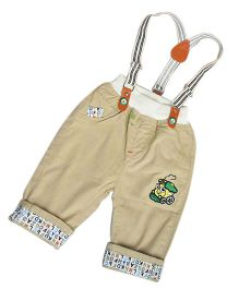 Aww Hunnie Train Print Pants With Dungarees - Beige
