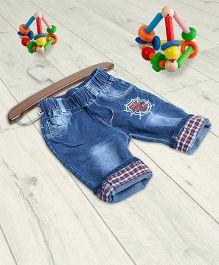 Aww Hunnie Check Folded Denim Pants - Blue