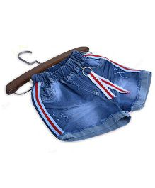 Aww Hunnie Denim Striped Shorts - Blue