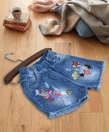 Aww Hunnie Trendy Printed Denim Shorts - Blue