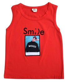 Aww Hunnie Smile Print Summer Tee - Red