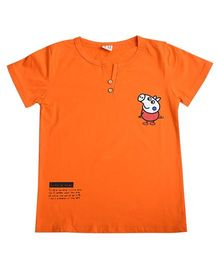 Aww Hunnie Piggy Print Henley Tee - Orange