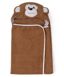 Babyhug Hooded Towel Monkey Design - Brown