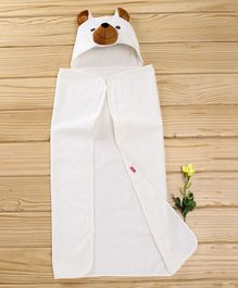 Babyhug Hooded Terry Cotton Towel Bear Design - White