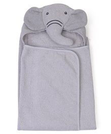 Babyhug Hooded Towel Elephant Design - Light Grey