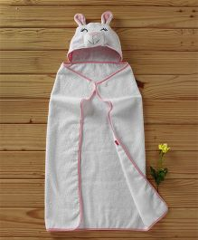 Babyhug Hooded Terry Cotton Towel Animal Design - White