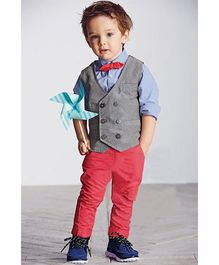 Pre Order - Dells World Full Sleeves Shirt & Pant With Waist Coat & Bow - Blue Grey & Red