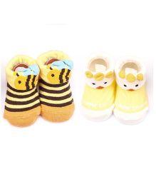 Dazzling Dolls Set Of 2 Bunny & Snake Design Socks - Yellow & White