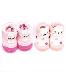 Dazzling Dolls Set Of 2 Bunny & Kitten Design Socks - Pink