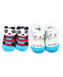 Dazzling Dolls Set Of 2 Bunny & Kitten Design Socks - Multicolour