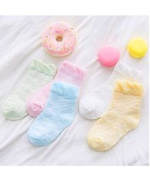 Dazzling Dolls Combo Of 5 Floral Printed Socks - Multicolour