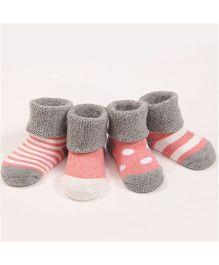 Dazzling Dolls Set Of 4 Designer Socks - Grey White & Pink