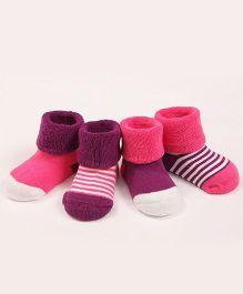 Dazzling Dolls Set Of 4 Stripe & Soild Socks - Pink