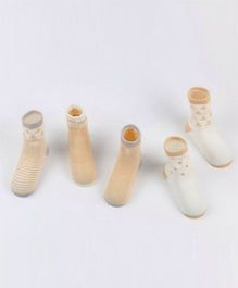 Dazzling Dolls Set Of 5 Cute Printed Socks - Beige