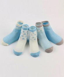 Dazzling Dolls Set Of 5 Cute Printed Socks - Blue