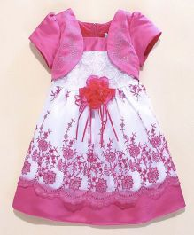 Wonderland Flower Applique Lace Dress - Hot Pink