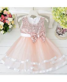 Wonderland Fit & Flared Sequines Bow Applique Dress - Peach