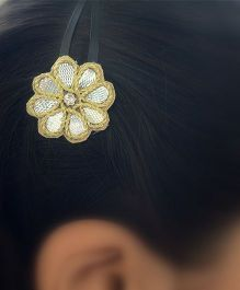 Pretty Ponytails Gota Embroidery Diamond Ethnic Flower Clip - Gold