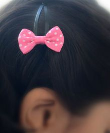 Pretty Ponytails Polka Dot Bow Clip - White And Pink