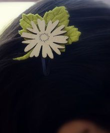 Pretty Ponytails Flower Leaf Earthy Tones Clip - Green