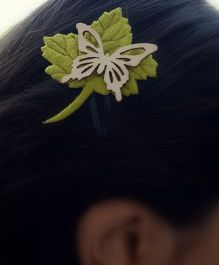 Pretty Ponytails Butterfly Leaf Earthy Tones Clip - Green