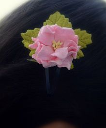 Pretty Ponytails Rose Flower Leaf Tones Clip - Green And Pink