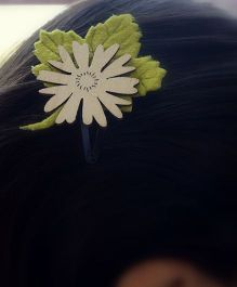 Pretty Ponytails Flower Butterfly Leaf Earthy Tones Clip - Green And Brown