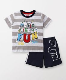 Babyhug Half Sleeves Tee & Shorts Music Print - Grey & Navy Blue