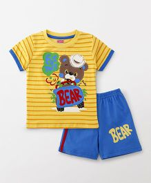 Babyhug Half Sleeves Tee & Shorts Bear Print - Yellow & Blue