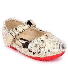 Cute Walk by Babyhug Belly Shoes Floral Applique Velcro Closure - White Gold