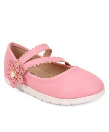 Cute Walk by Babyhug Party Wear Belly Shoes Flower Applique - Pink