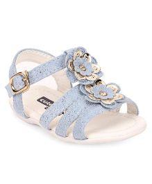 Cute Walk by Babyhug Sandals Floral & Pearl Applique Buckle Closure - Blue
