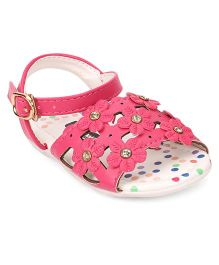 Cute Walk by Babyhug Sandal Buckle Closure Floral Applique - Pink