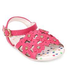 Cute Walk by Babyhug Sandal Buckle Closure Floral Applique - Pink