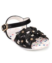 Cute Walk by Babyhug Sandal Buckle Closure Floral Applique - Black