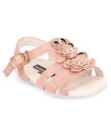 Cute Walk by Babyhug Sandals Floral & Pearl Applique Buckle Closure - Pink