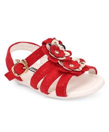 Cute Walk by Babyhug Sandals Floral & Pearl Applique Buckle Closure - Red