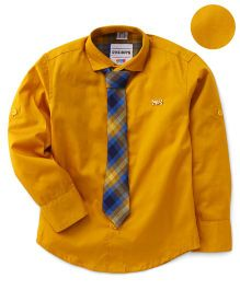 Oks Full Sleeves Shirt With Tie - Yellow