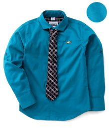 Oks Full Sleeves Shirt With Tie - Teal Blue