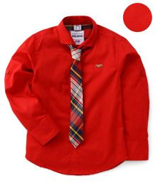 Oks Full Sleeves Shirt With Tie - Red