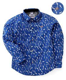 Oks Full Sleeves Shirt Printed - Blue