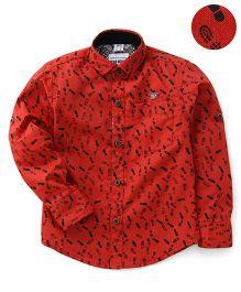 Oks Full Sleeves Shirt Printed - Red